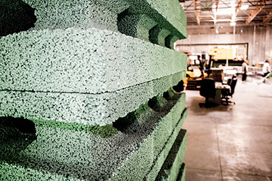 Composite ICF / ICCF block The Perfect Block® green building product made expanded polystyrene (EPS) Styrofoam Portland cement proprietary mixture water Nearly 90% volume composite recycled EPS.